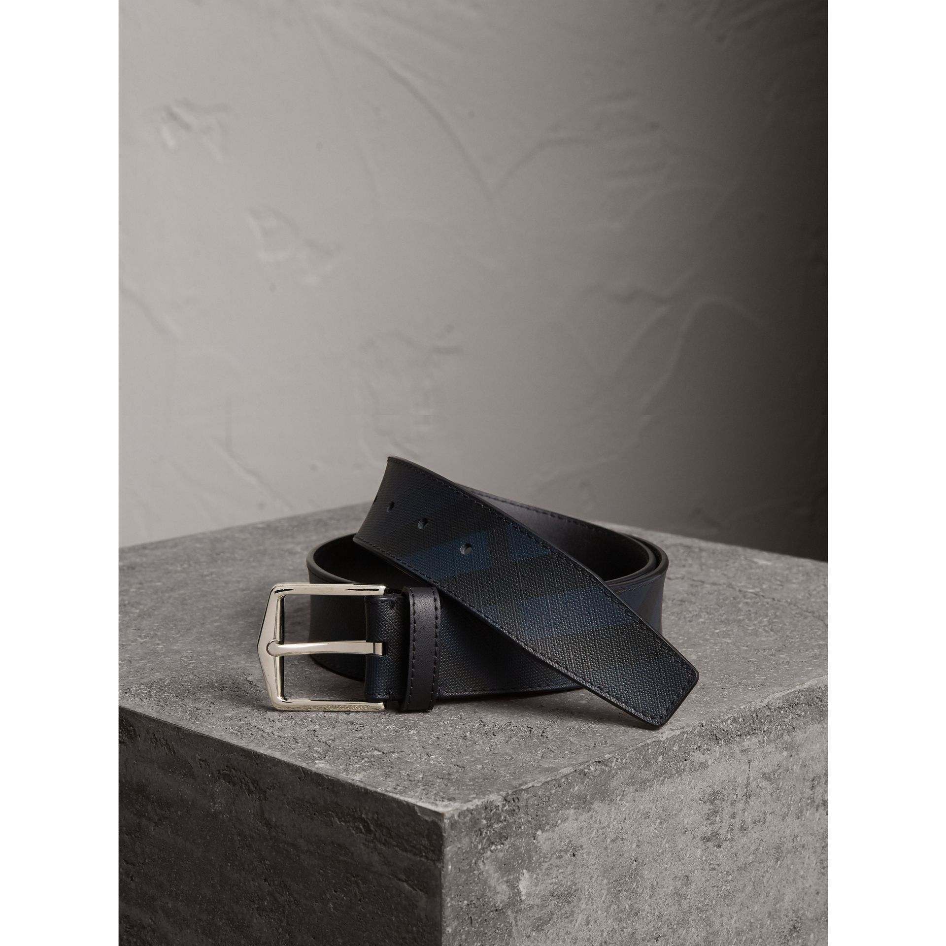 Leather Trim London Check Belt in Charcoal/black - Men | Burberry - gallery image 1