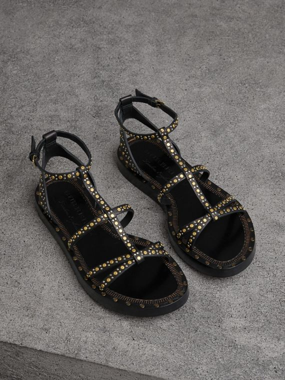 Riveted Leather Gladiator Sandals in Black