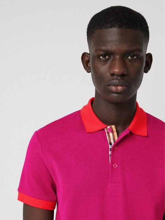 Polo en coton avec col contrastant (Rose Prune) - Homme | Burberry Canada - cell image 1