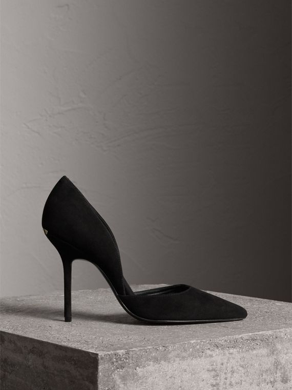 Point-toe Suede D'Orsay Pumps in Black