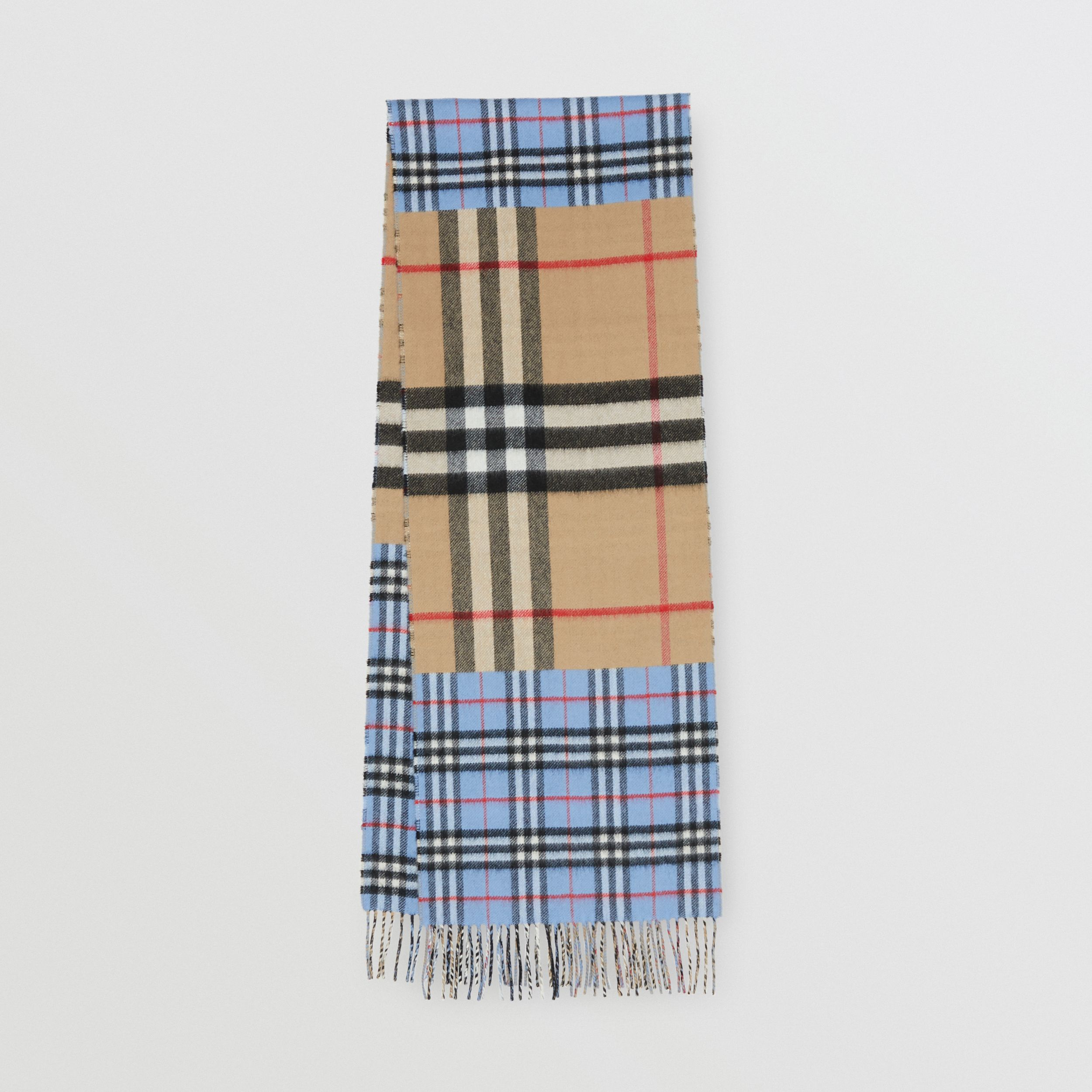Contrast Check Cashmere Merino Wool Jacquard Scarf in Opal Blue | Burberry - 1
