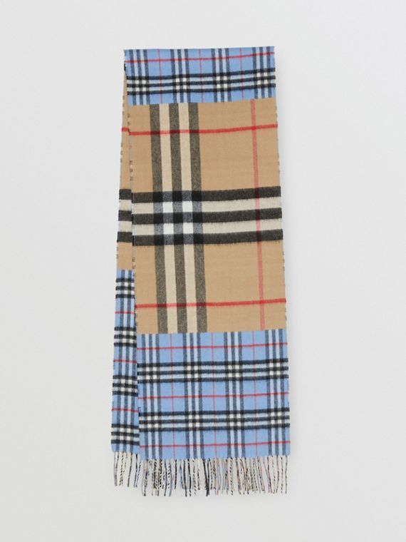 Contrast Check Cashmere Merino Wool Jacquard Scarf in Opal Blue