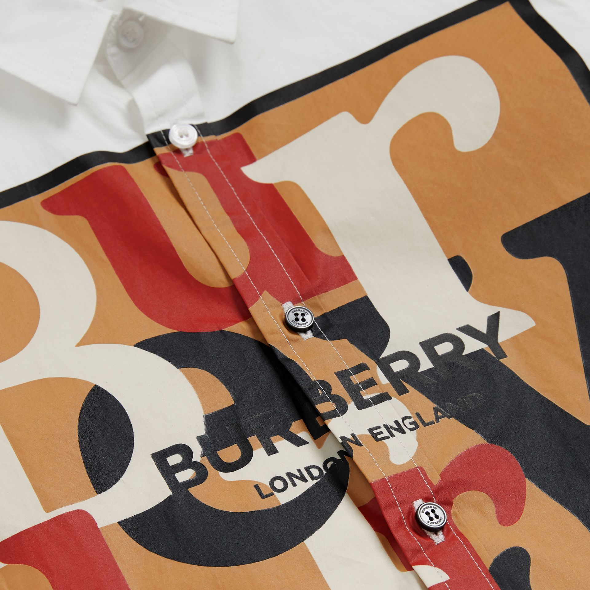 Logo and Archive Scarf Print Stretch Cotton Shirt in White | Burberry United Kingdom - gallery image 1
