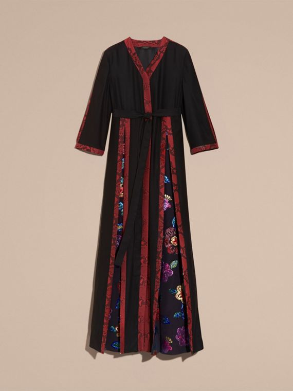 Black Floral Fil Coupé Trimmed Silk Wrap Gown - cell image 3