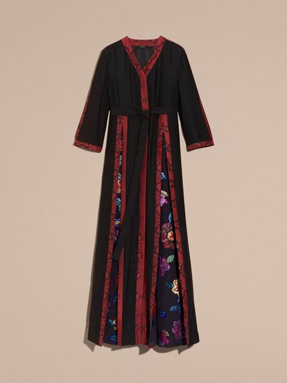 Preto Vestido envelope longo de seda com detalhes em fil coupé floral - cell image 3