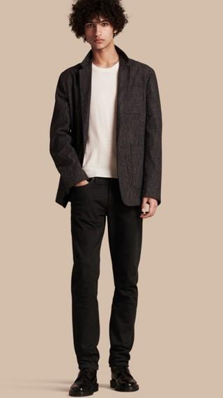 Veste de costume en coton et soie façon tweed