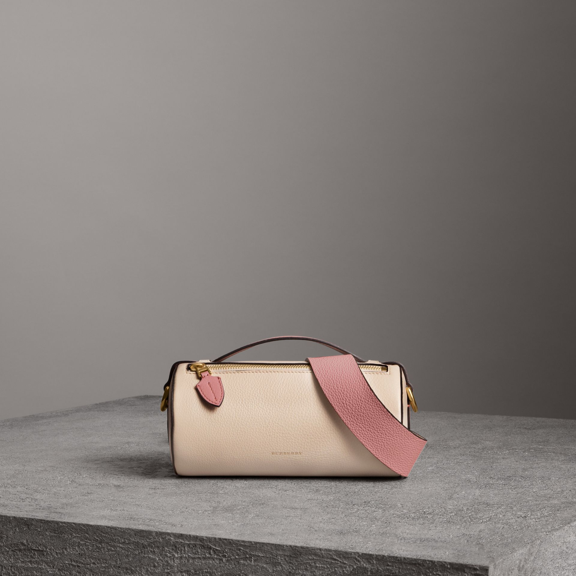 The Leather Barrel Bag in Limestone/dusty Rose - Women | Burberry United States - gallery image 0