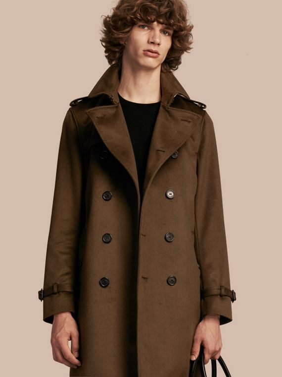 Trench coat in cashmere Cachi Militare Scuro
