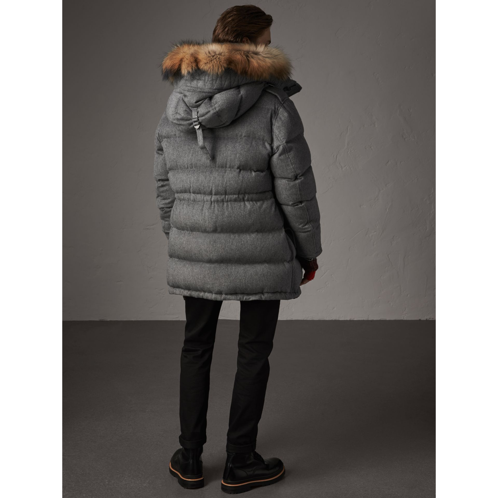 Detachable Fur Trim Cashmere Down-filled Parka in Mid Grey Melange - Men | Burberry United Kingdom - gallery image 2