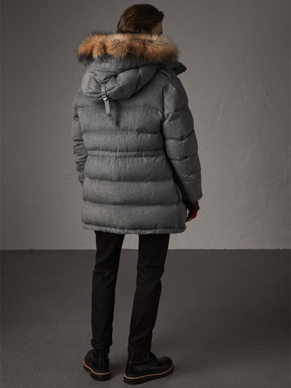 Detachable Fur Trim Cashmere Down-filled Parka in Mid Grey Melange - Men | Burberry - cell image 2