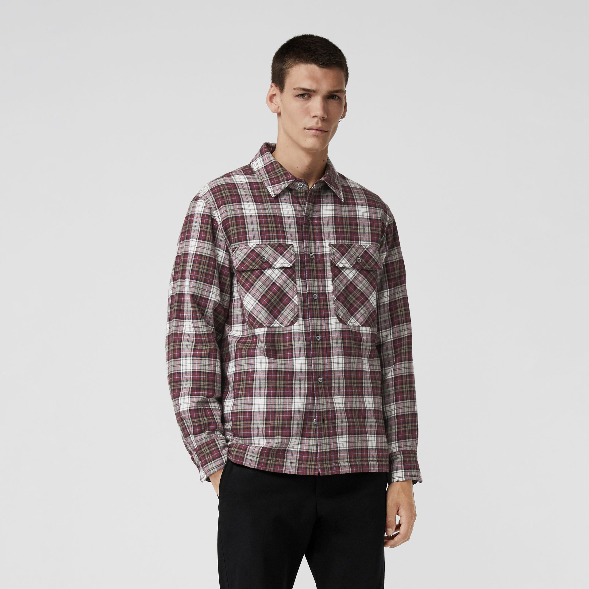 Quilted Check Flannel Shirt in Crimson Red - Men | Burberry - gallery image 4