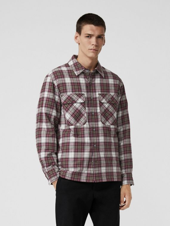 Quilted Check Flannel Shirt in Crimson Red