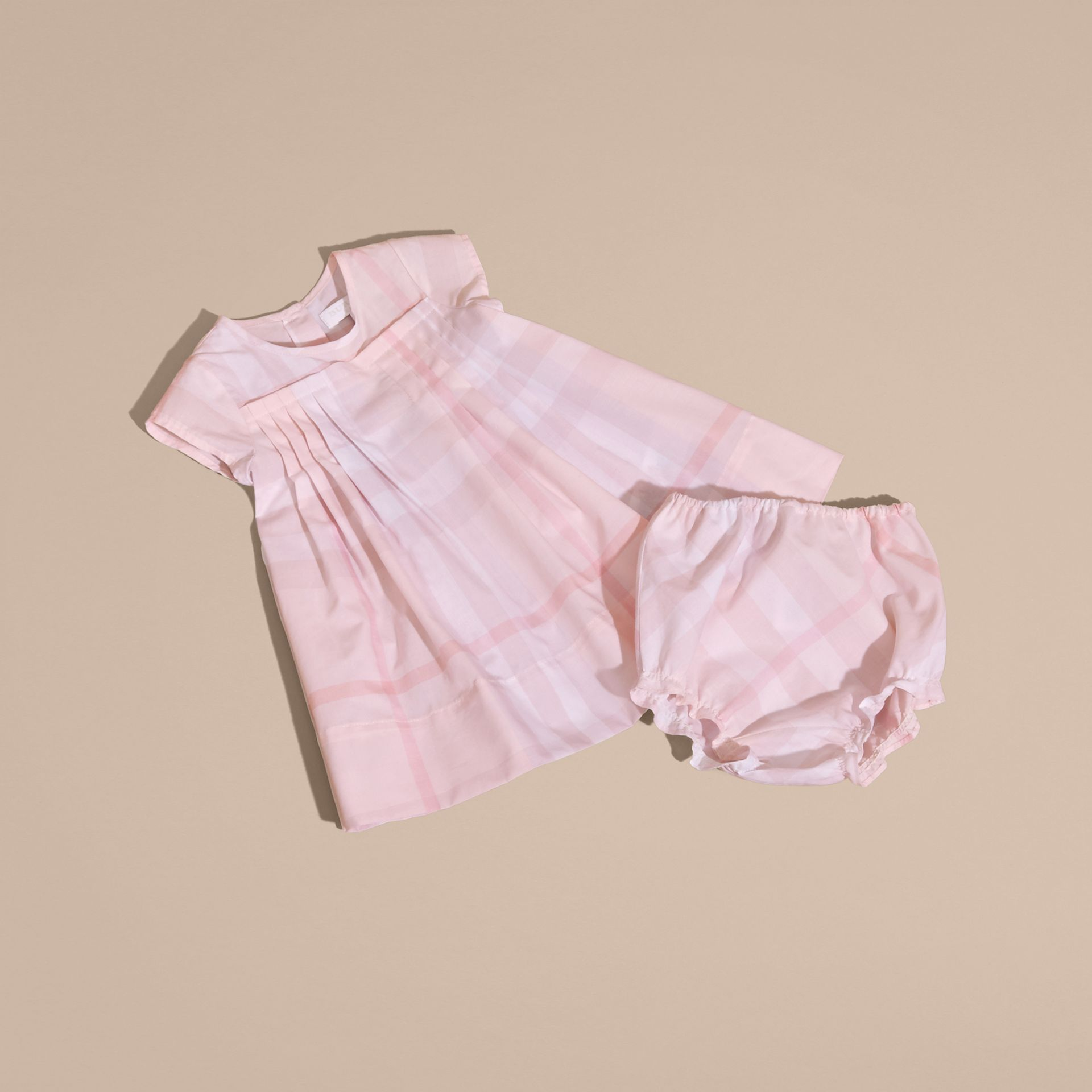 Check Cotton Pleat Dress Ice Pink - gallery image 5