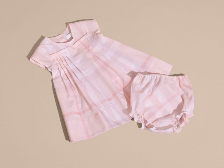 Check Cotton Pleat Dress Ice Pink - cell image 4