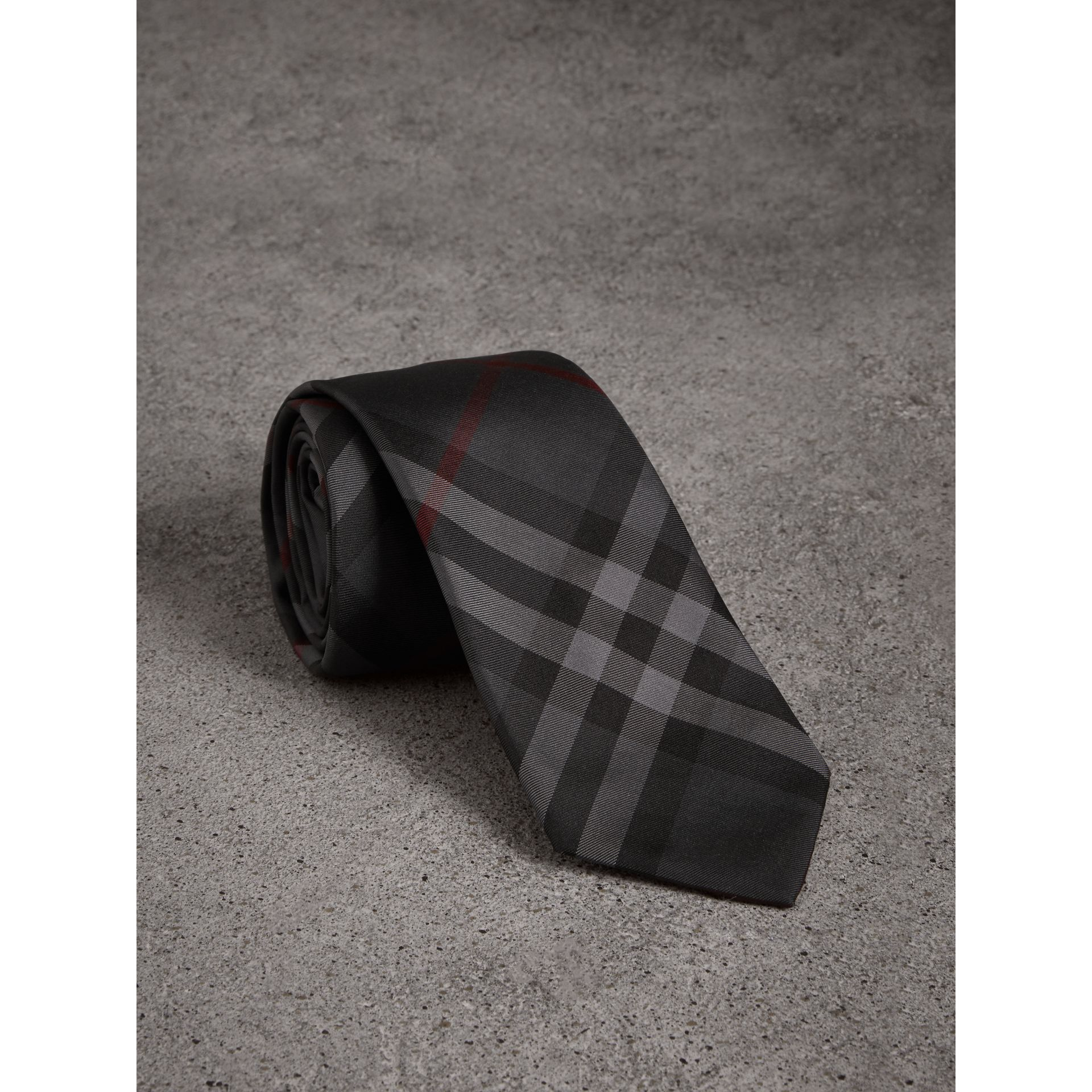 Modern Cut Check Silk Twill Tie in Charcoal - Men | Burberry United States - gallery image 0