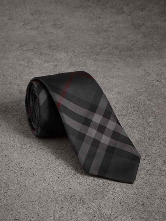 Modern Cut Check Silk Twill Tie in Charcoal