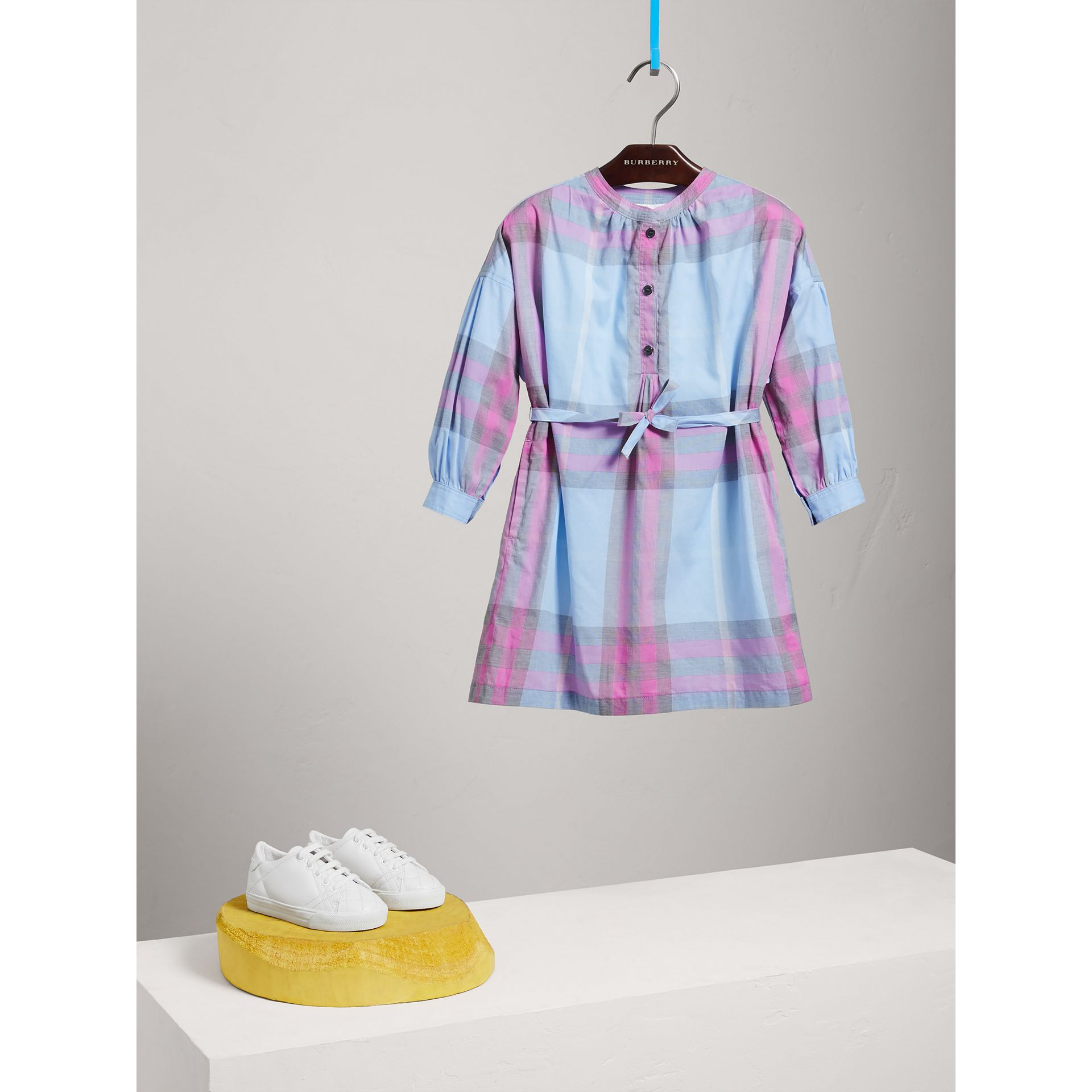 Check Cotton Shirt Dress in Chalk Blue - Girl | Burberry - gallery image 1