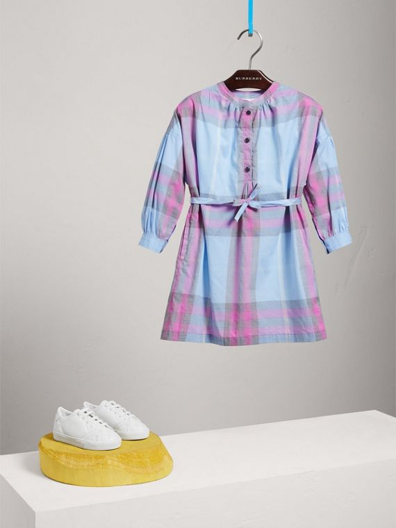 Check Cotton Shirt Dress in Chalk Blue