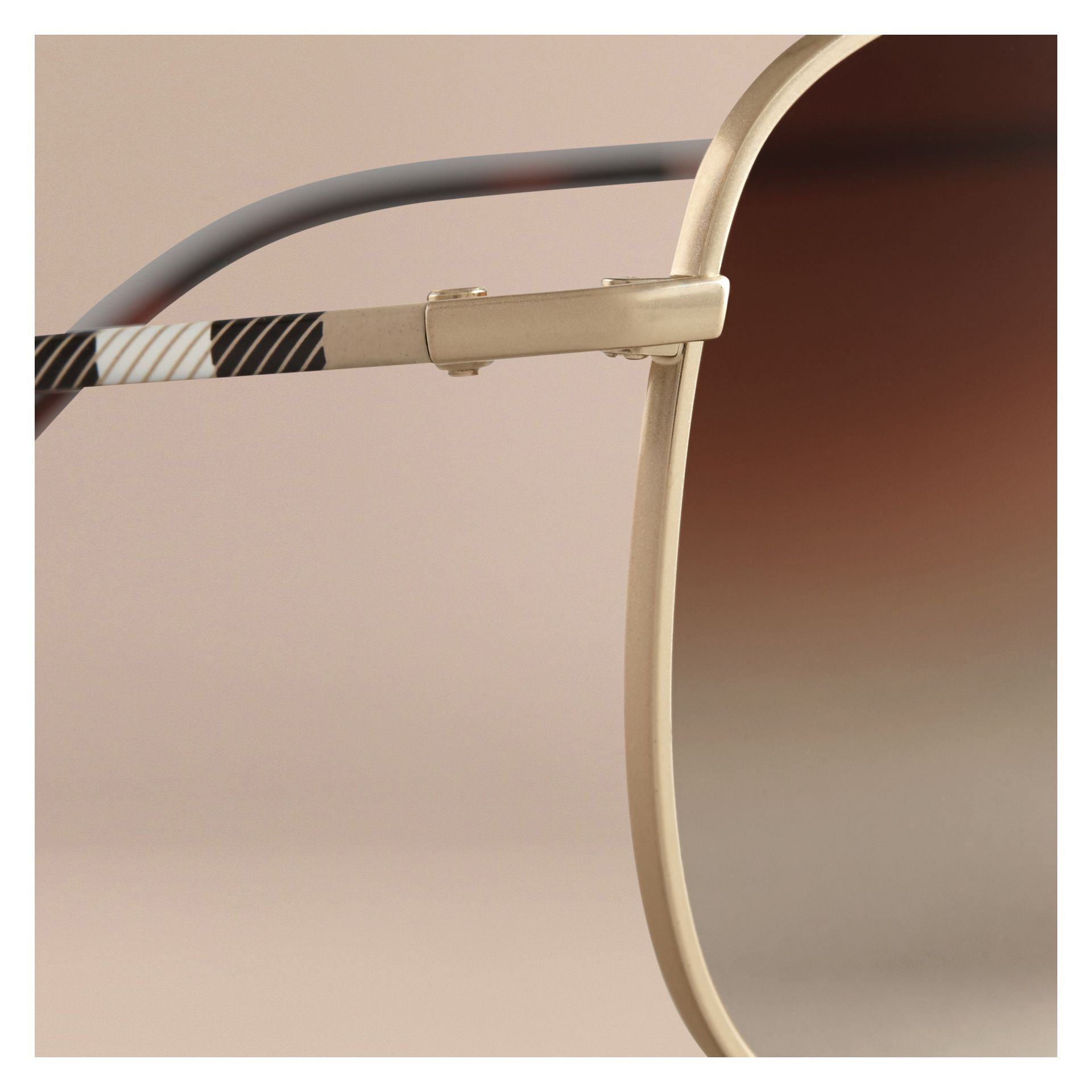 Pale gold Check Arm Pilot Sunglasses - gallery image 2