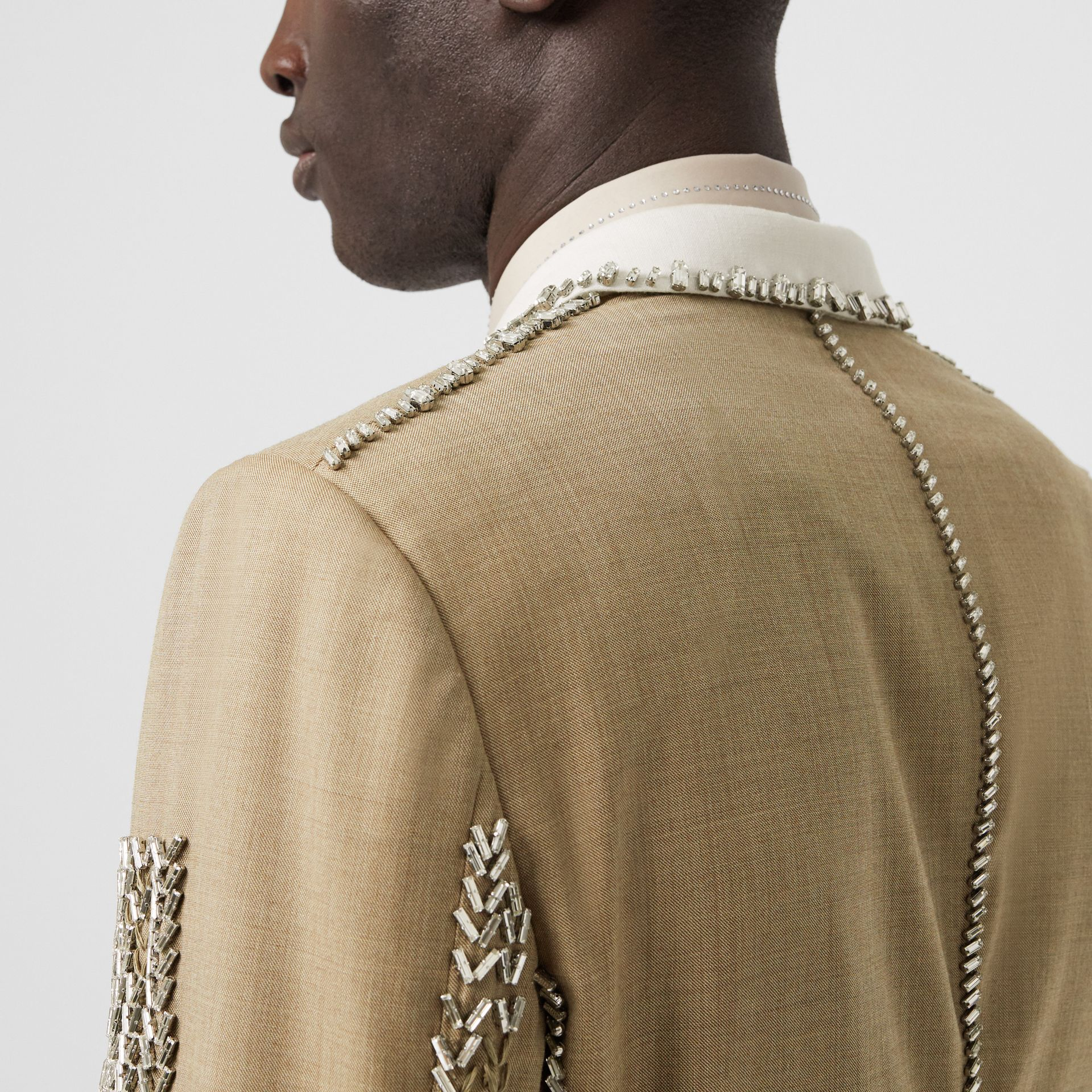 English Fit Crystal Embroidered Wool Cashmere Jacket in Pecan Melange | Burberry - gallery image 4