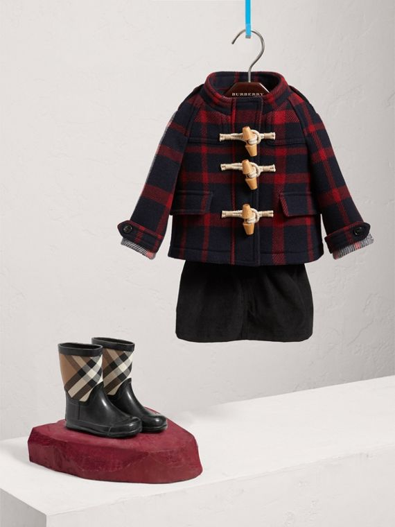 Montgomery in lana double face con motivo tartan ingrandito (Navy/nero)