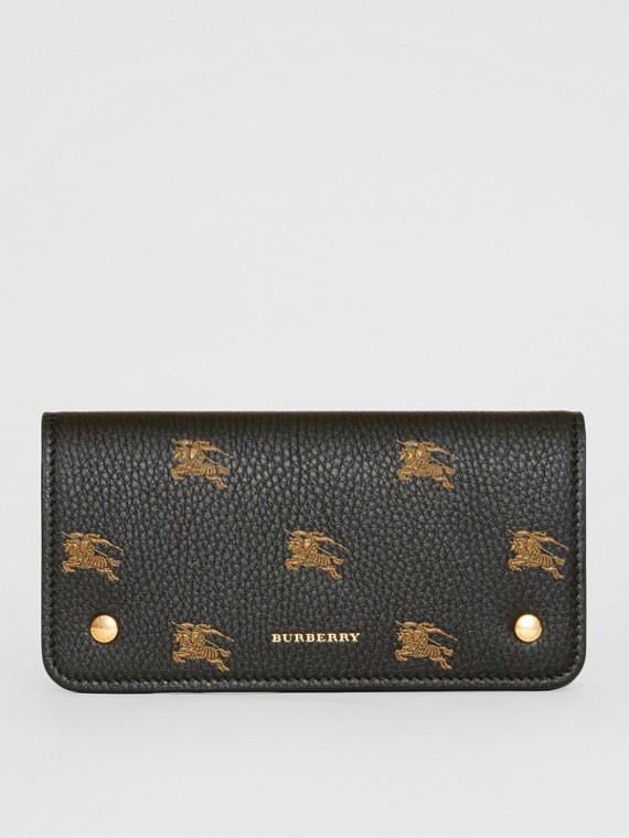 Lederbrieftasche für Mobiltelefone mit Ritteremblem-Muster (Schwarz)