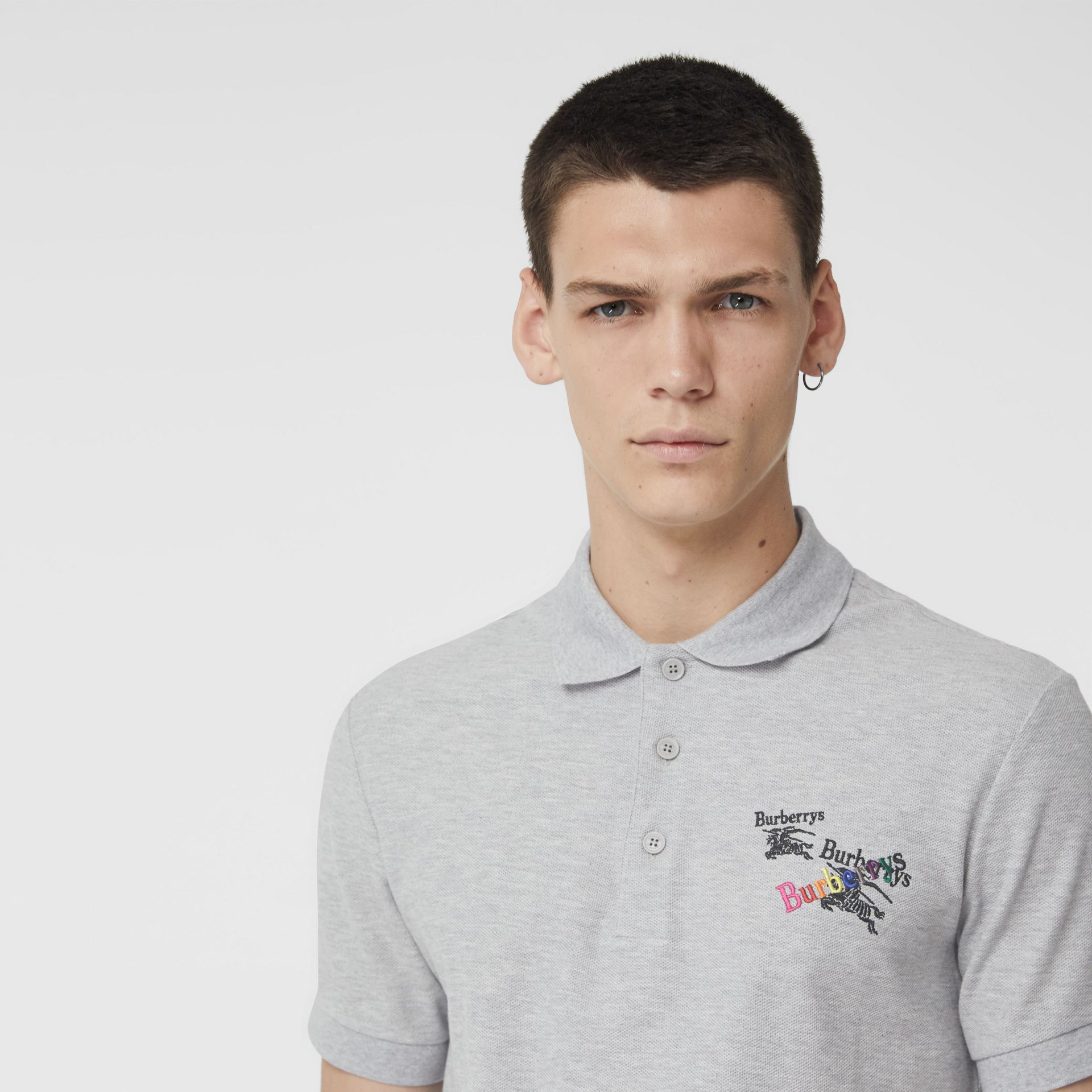 Triple Archive Logo Cotton Piqué Polo Shirt in Pale Grey Melange - Men | Burberry Australia - gallery image 1