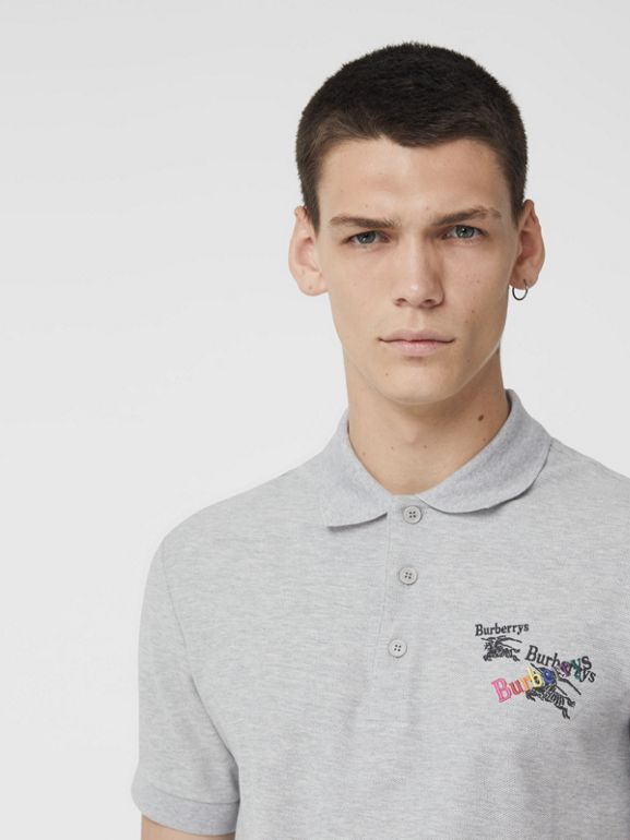 Triple Archive Logo Cotton Piqué Polo Shirt in Pale Grey Melange - Men | Burberry Australia - cell image 1