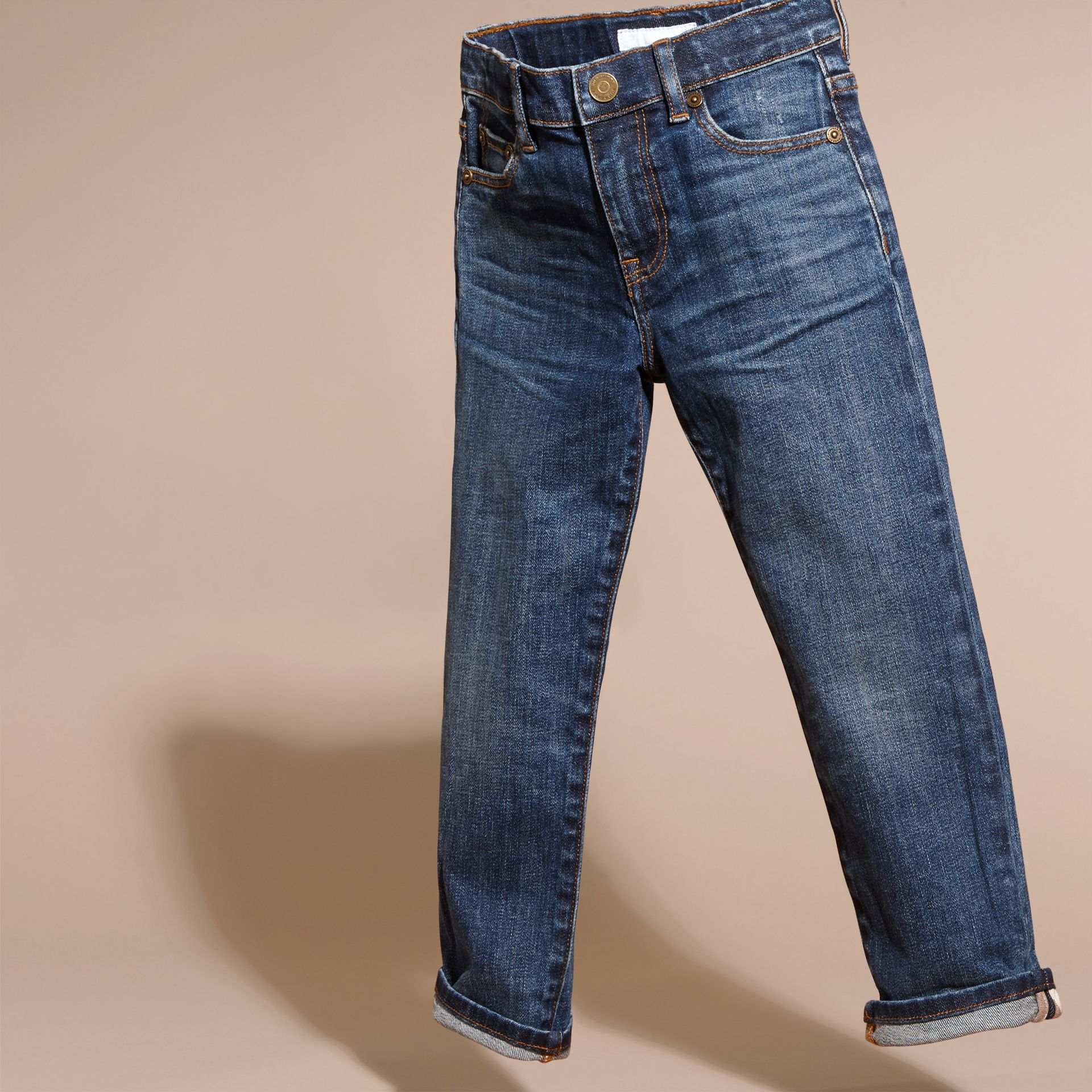Indigo Relaxed Fit Japanese Stretch Denim Jeans - gallery image 3