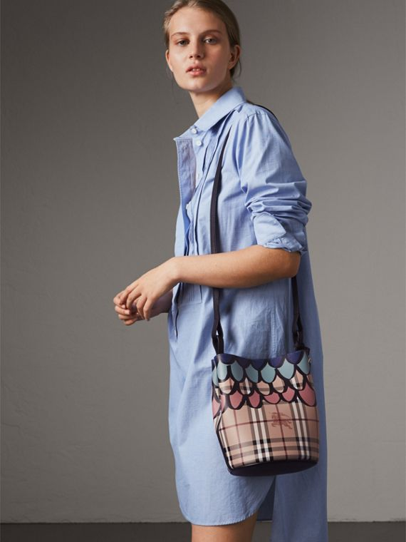 Trompe L'oeil Print Crossbody Bucket Bag in Black - Women | Burberry Singapore - cell image 2