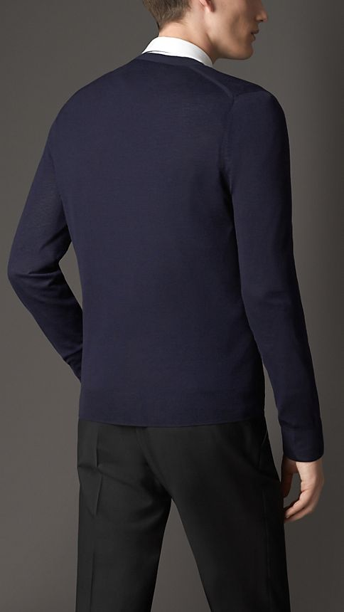 Navy V-Neck Merino Wool Cardigan - Image 2