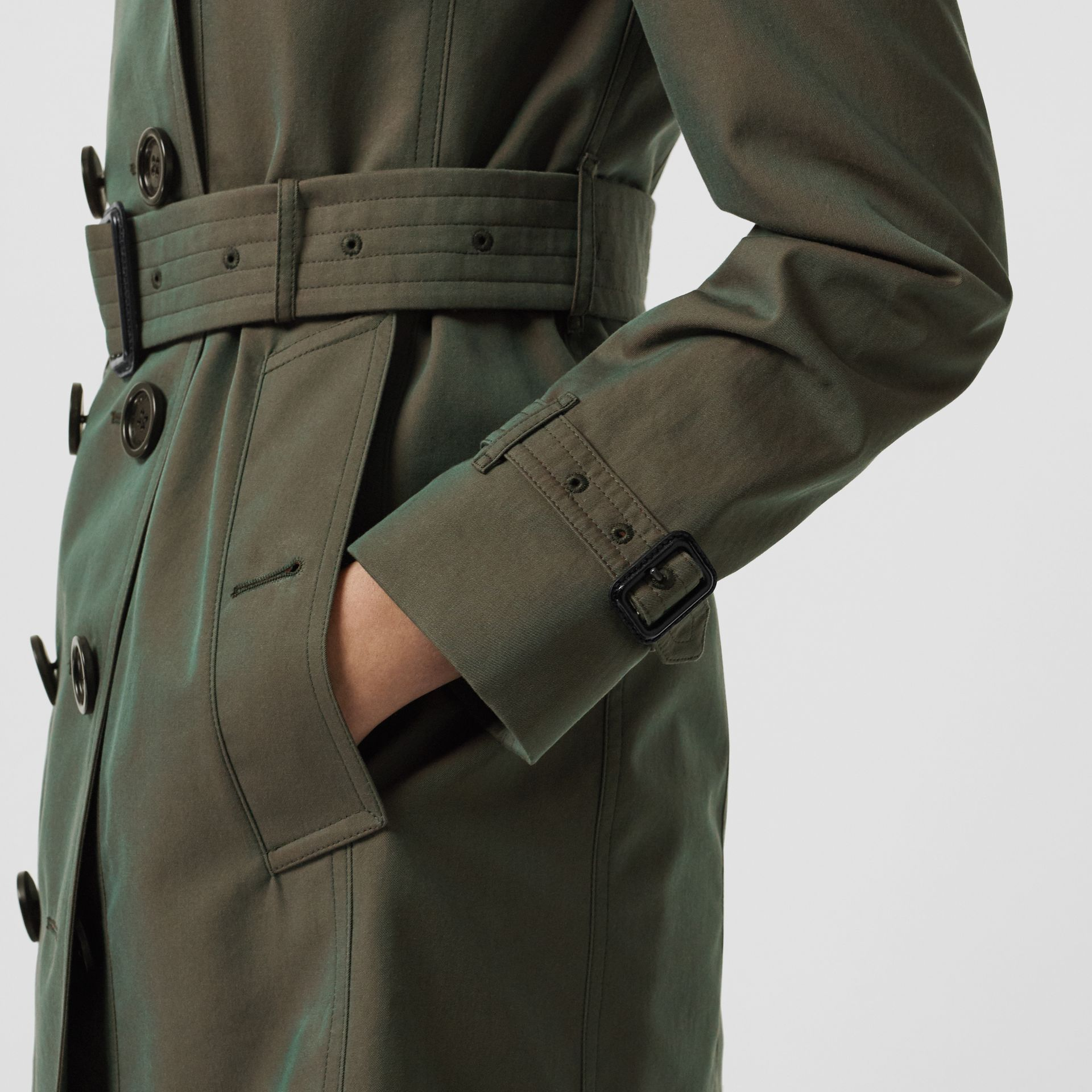 Sandringham Fit Cotton Gabardine Trench Coat in Dark Antique Green - Women | Burberry - gallery image 5