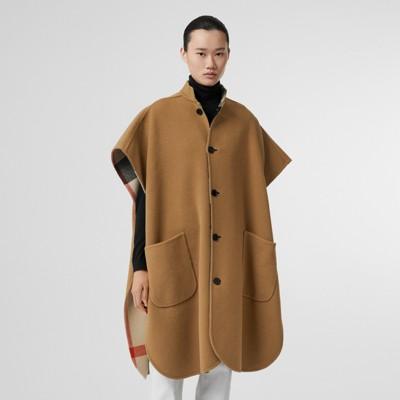 Burberry - Poncho reversible en mezcla de lana a cuadros - 5
