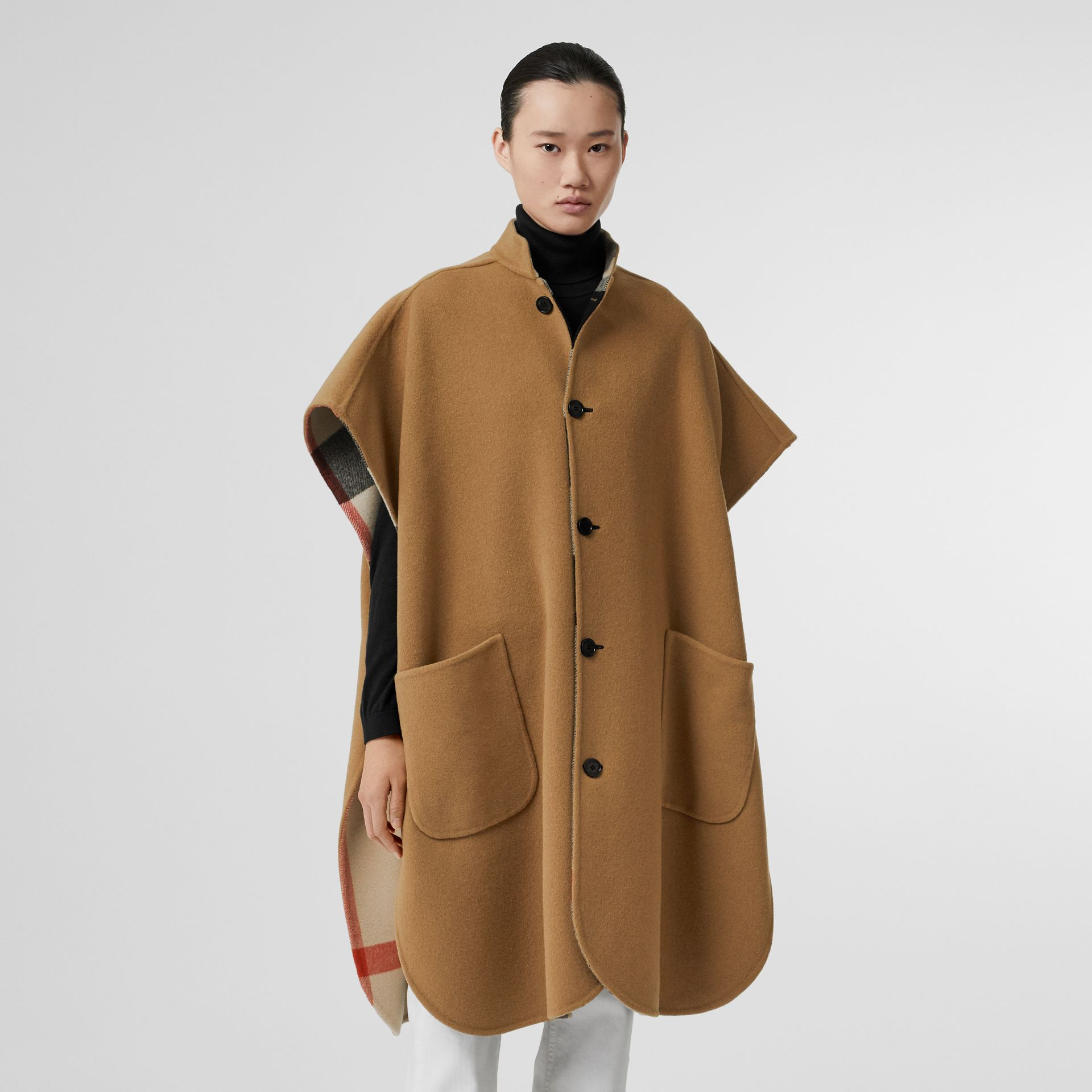 Reversible Check Wool Blend Poncho in Camel - Women | Burberry Australia - gallery image 4