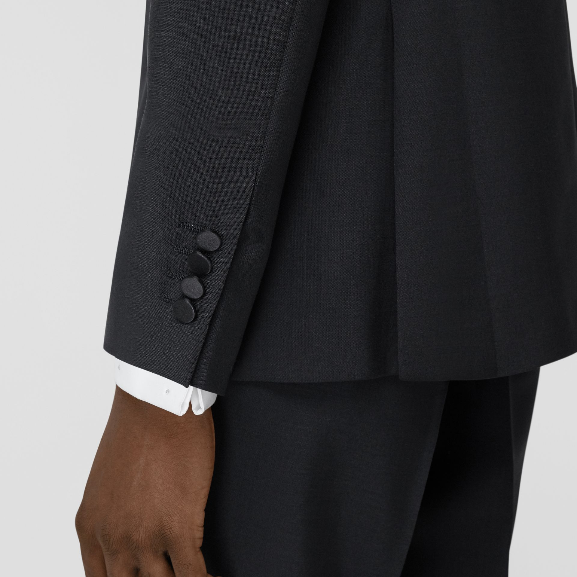 English Fit Embellished Mohair Wool Tuxedo Jacket in Black - Men | Burberry - gallery image 4