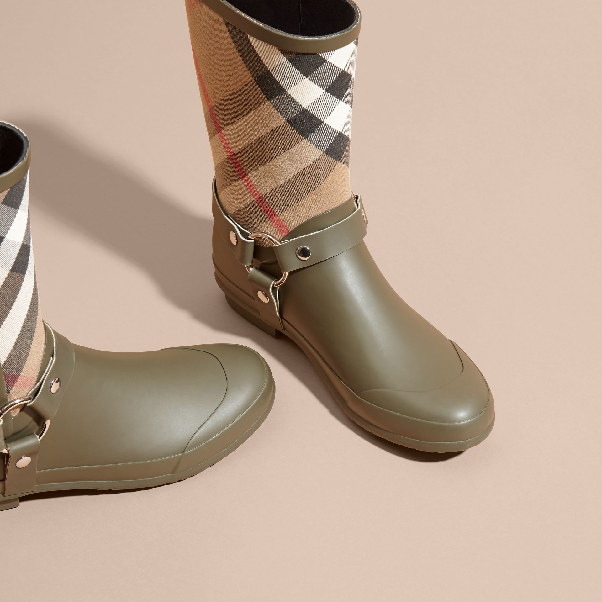 Buckle and Strap Detail Check Rain Boots House Check/military Green - gallery image 3
