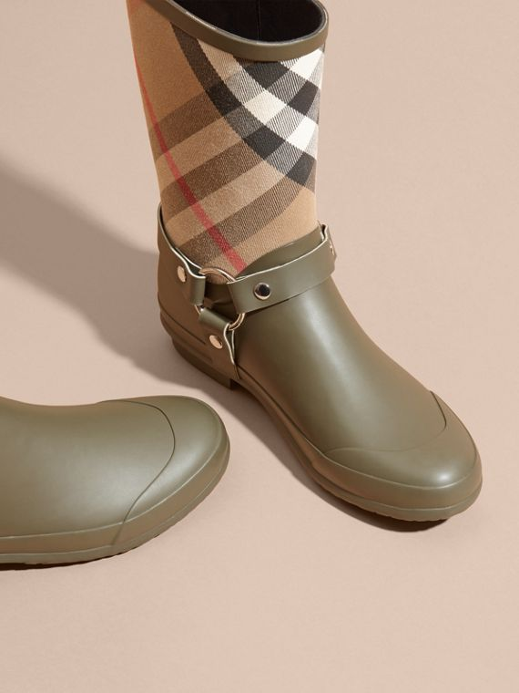 Buckle and Strap Detail Check Rain Boots House Check/military Green - cell image 2