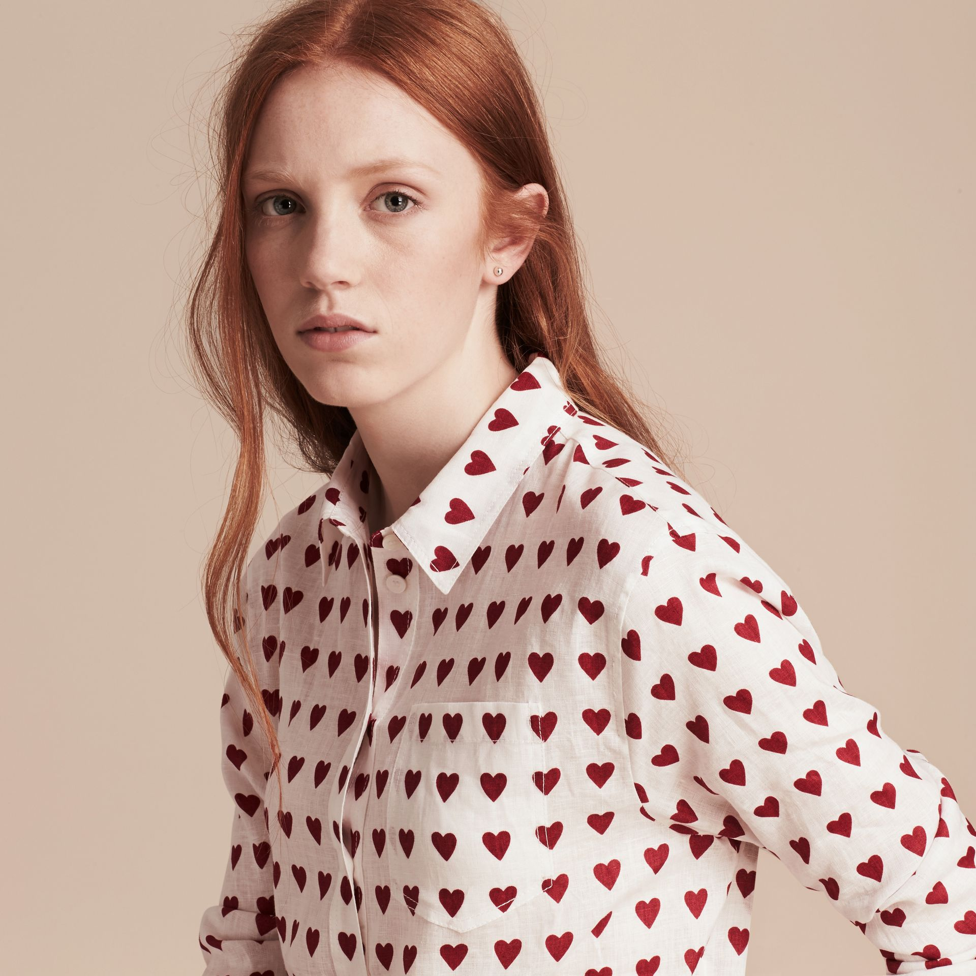 Heart Print Linen Shirt Parade Red - gallery image 5