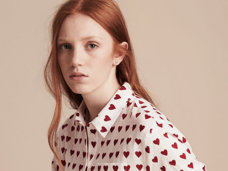 Heart Print Linen Shirt in Parade Red - cell image 4