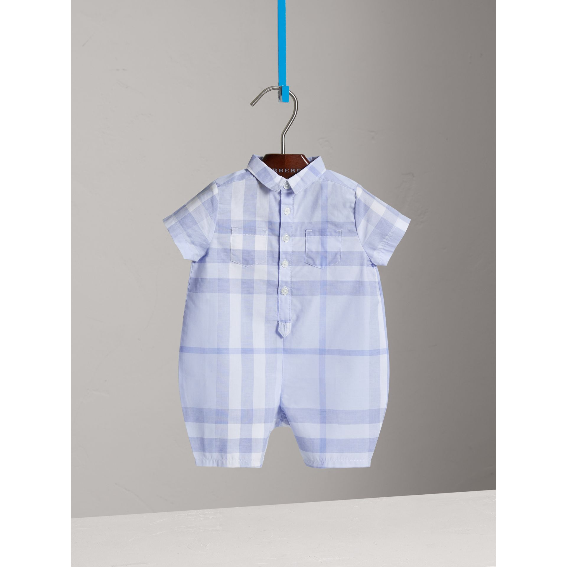 Check Cotton Playsuit in Ice Blue | Burberry United Kingdom - gallery image 2