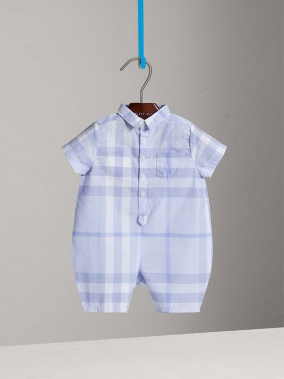 Check Cotton Playsuit in Ice Blue | Burberry - cell image 2