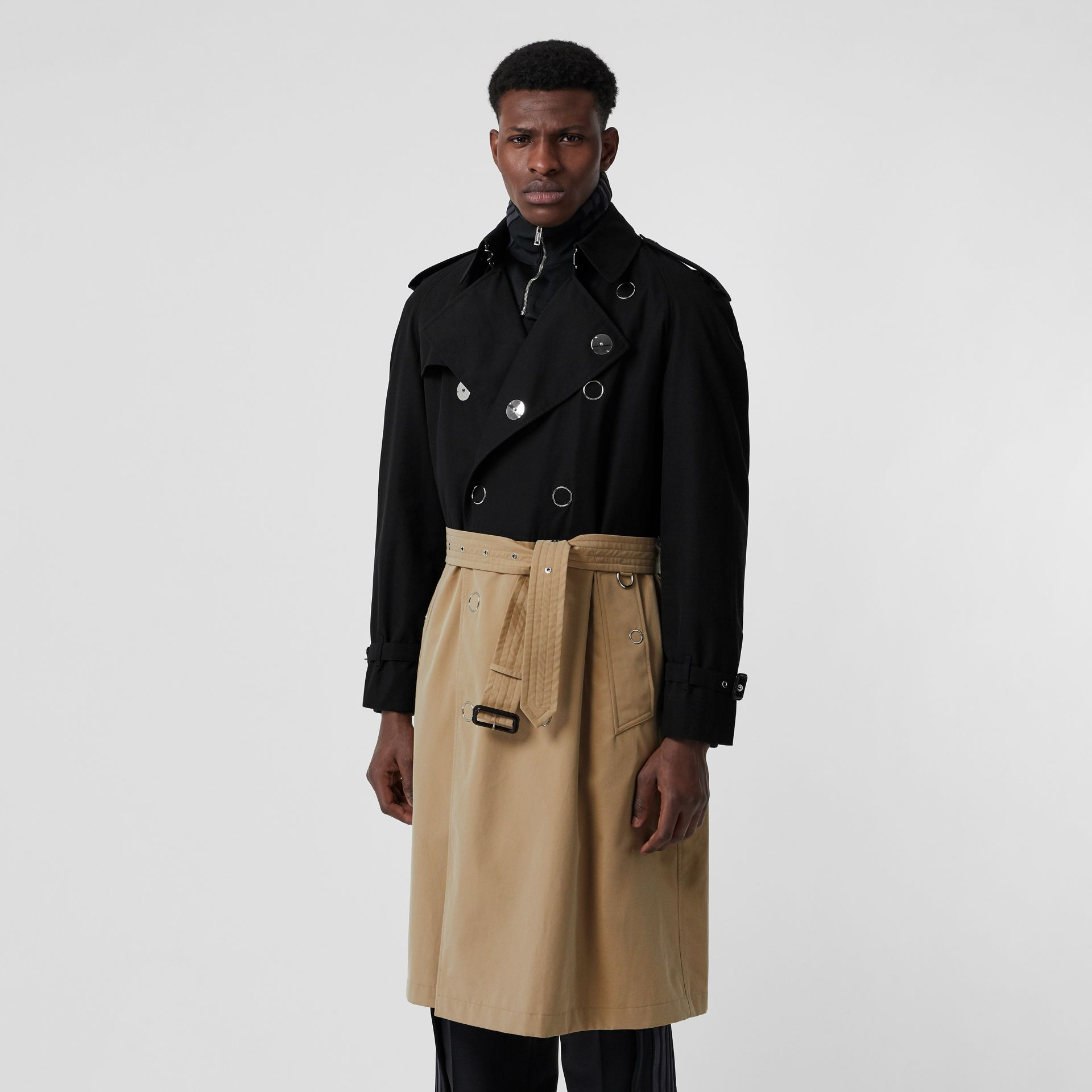 Two-tone Cotton Gabardine Trench Coat in Black | Burberry Australia - gallery image 6