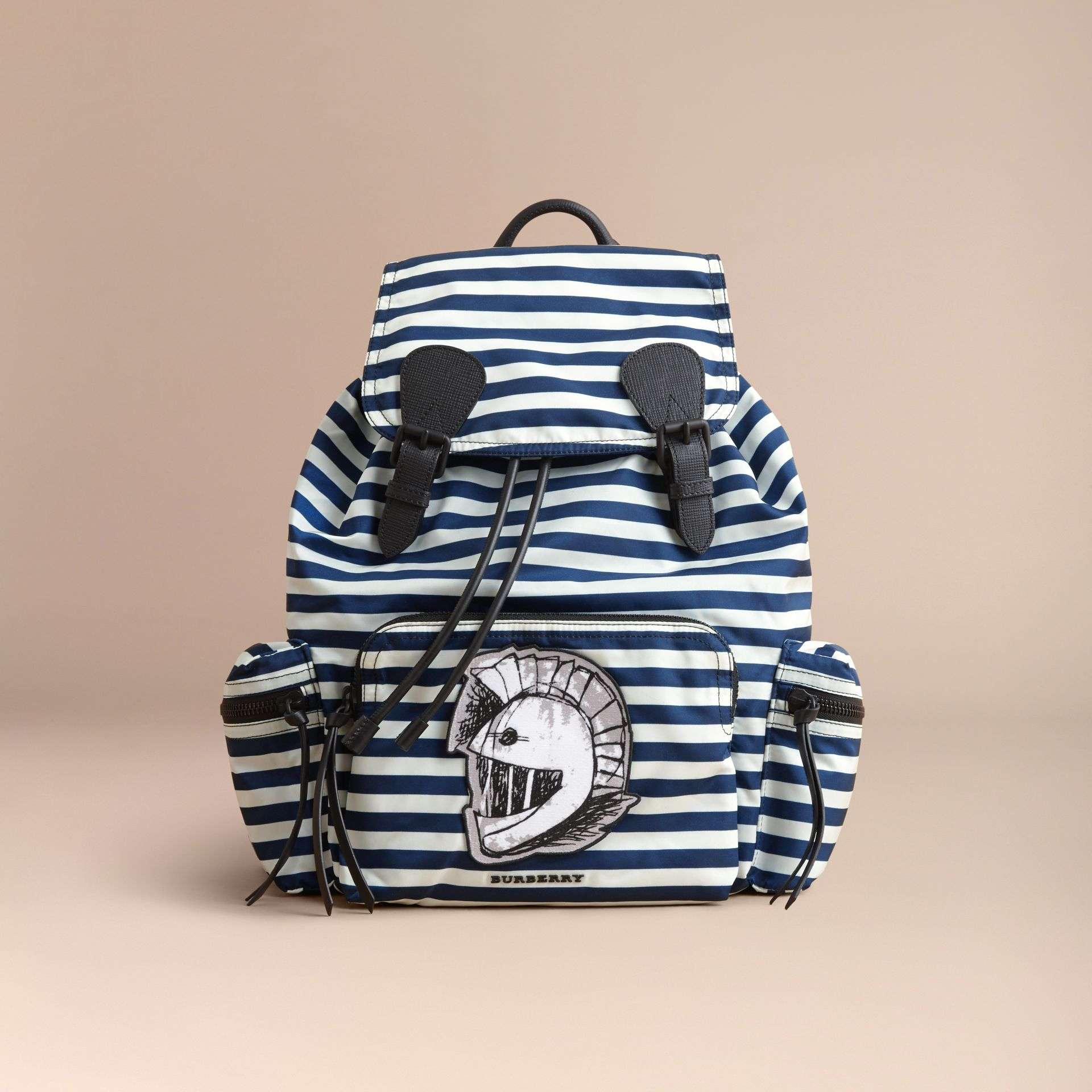 The Large Rucksack in Striped Nylon with Pallas Helmet Motif - gallery image 7