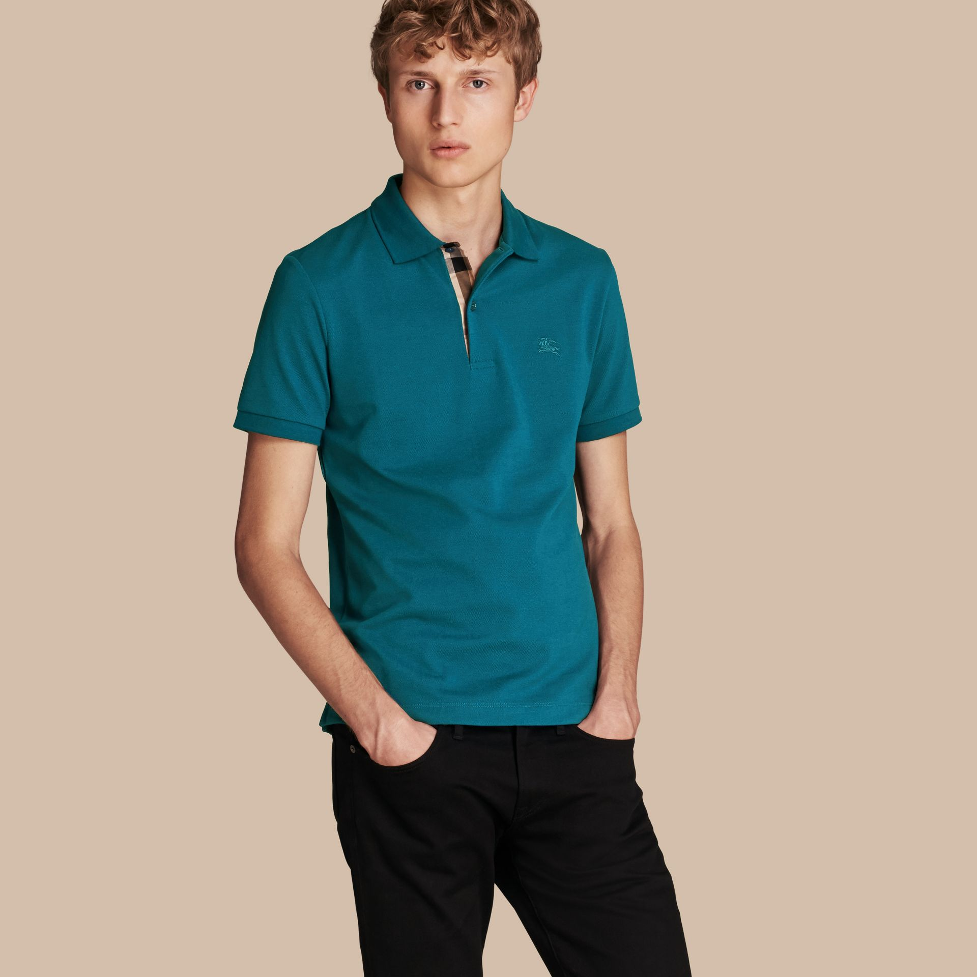 Check Placket Cotton Piqué Polo Shirt in Mineral Blue - gallery image 1