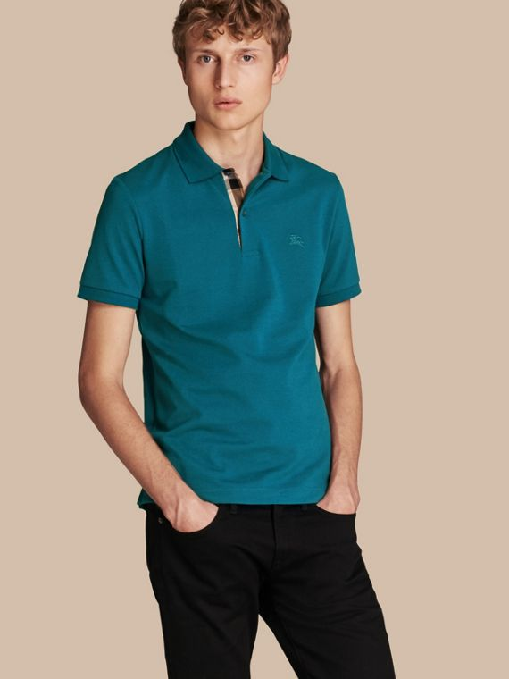 Check Placket Cotton Piqué Polo Shirt Mineral Blue