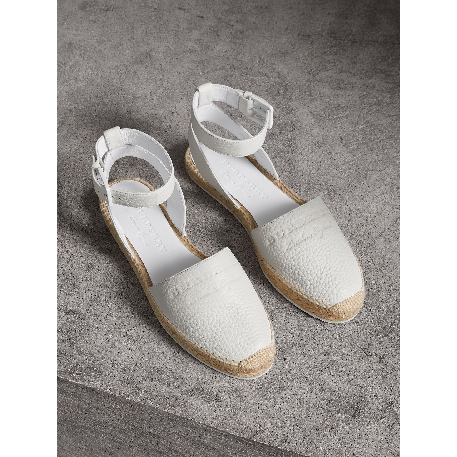 Embossed Grainy Leather Espadrille Sandals in Optic White - Women | Burberry Singapore - gallery image 0