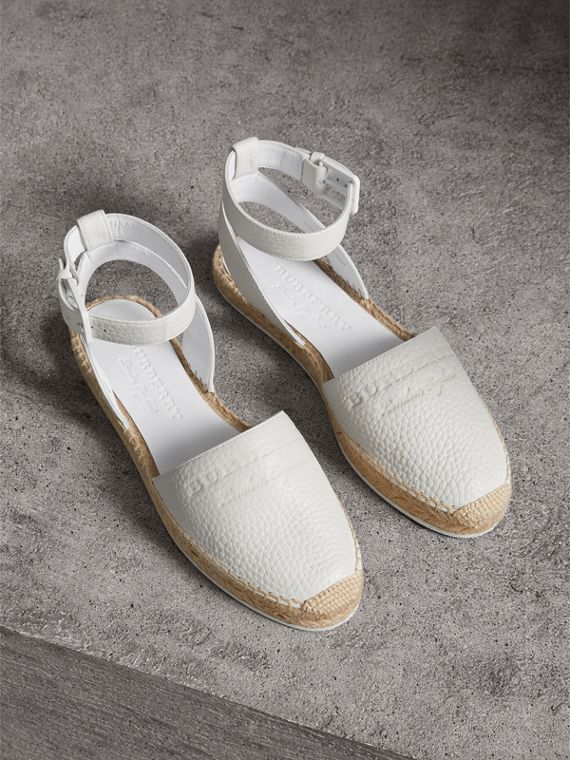 Embossed Grainy Leather Espadrille Sandals in Optic White