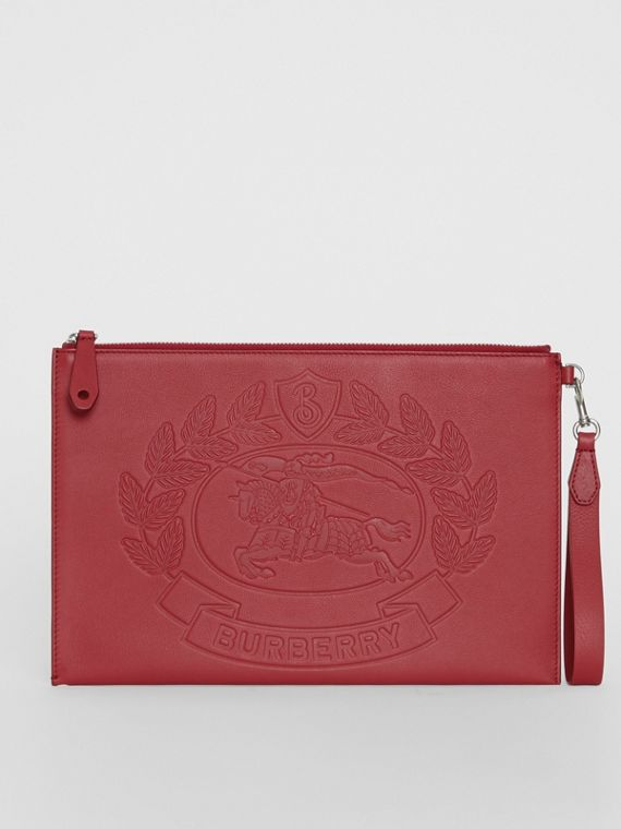 Embossed Crest Leather Zip Pouch in Crimson