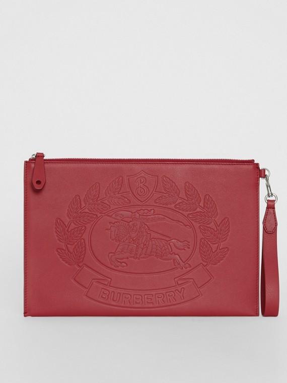 Bolsa pouch de couro com emblema em relevo (Carmesim)
