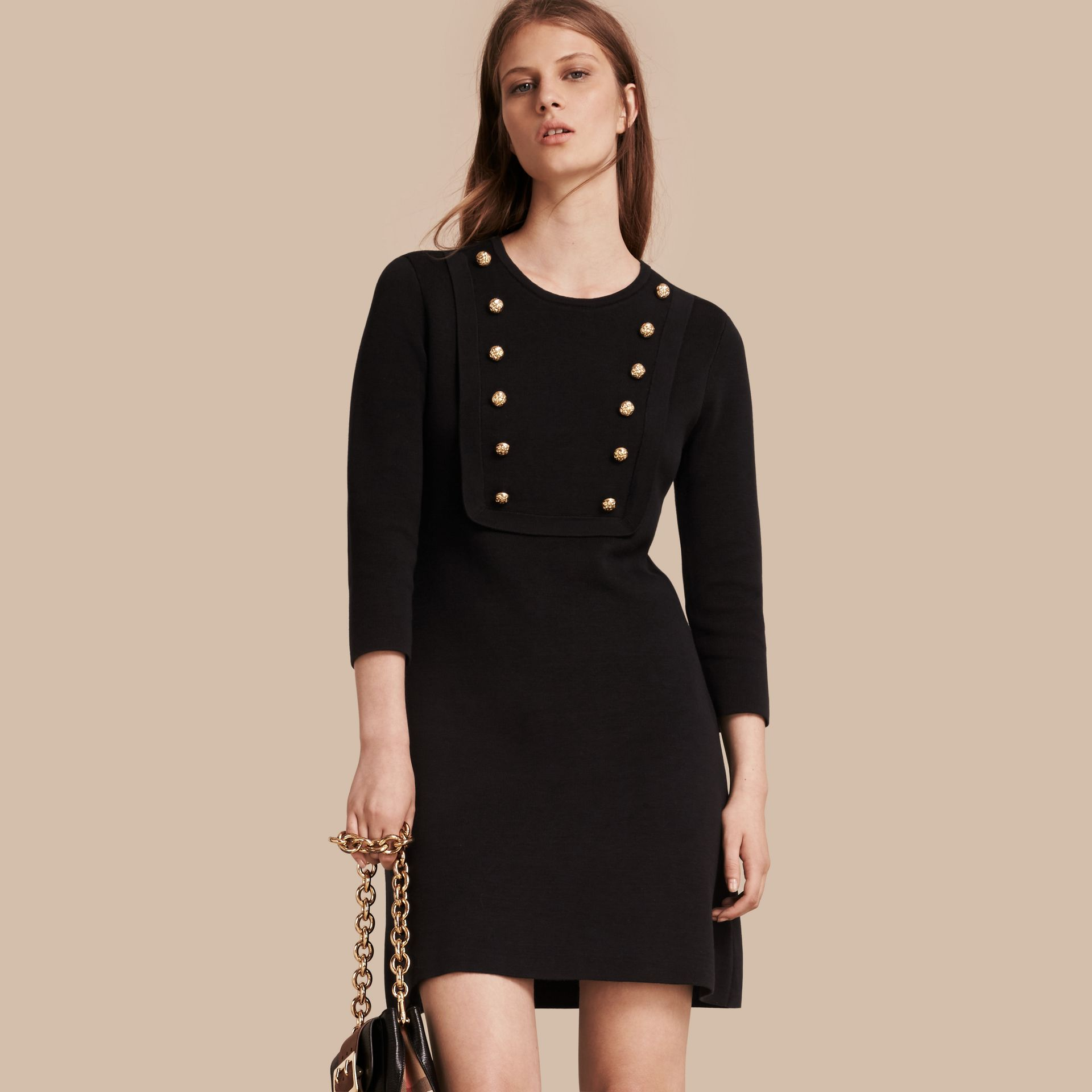 Black Stretch Silk-cotton Knitted Military Dress - gallery image 1